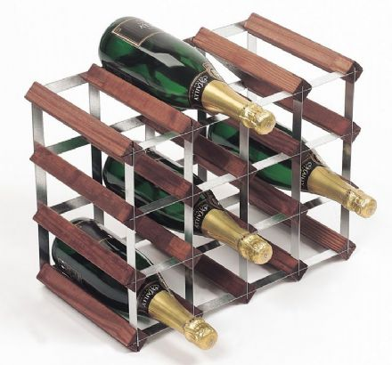 RTA 16 Bottle Assembled Stained Pine Wine Rack WNRK4103